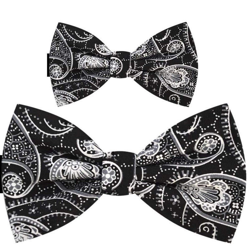 5c8a149907e0 Father and son bow ties, pre-tied handmade black set, fl ...