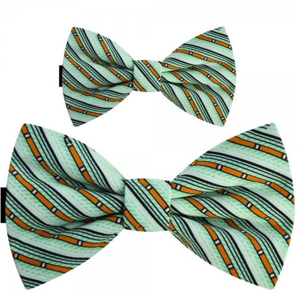 Father and son bow ties, handmade pre-tied green set, orange stripes