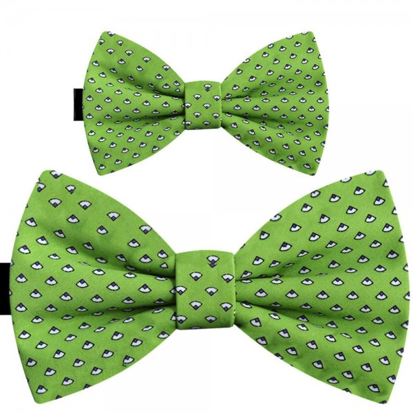 Father and son bow ties, handmade pre-tied green set, abstract pattern