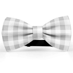 Bow Tie for Men, gray, butterfly, silk satin, bicolored, shiny, white small geometric forms, handmade