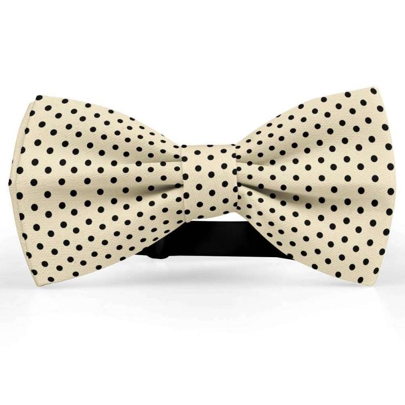 busca lo mejor 100% de garantía de satisfacción diseño innovador Pajarita, beige, mariposa, satén de seda, personalizado, metálico, pequeños  puntos centrados negros, handmade