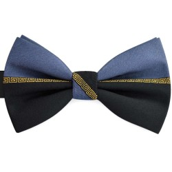Bow Tie for Men, black, butterfly, silk satin, bicolored, non-shiny, gray handmade