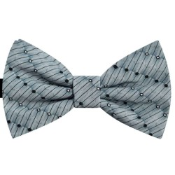 Bow Tie for Men, gray, butterfly, silk satin, with model, non-shiny, black oblique small dots, handmade