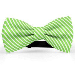 Bow Tie for Men, green, butterfly, silk satin, with model, shiny, white oblique thin stripes, handmade