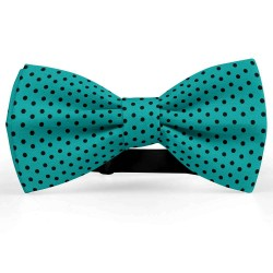 Bow Tie for Men, turqoise, butterfly, silk satin, with model, shiny, black centered small dots, handmade