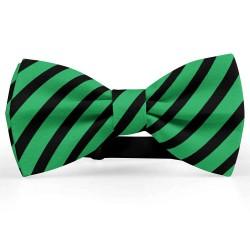 Bow Tie for Men, green, butterfly, silk satin, with model, metallic, black stripes, handmade