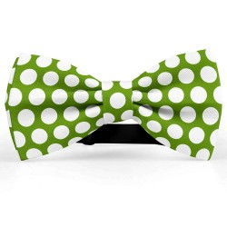 Bow Tie for Men, green, butterfly, silk satin, with model, shiny, white centered big dots, handmade