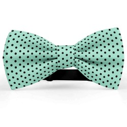 Bow Tie for Men, green, butterfly, silk satin, bicolored, shiny, black small dots, handmade
