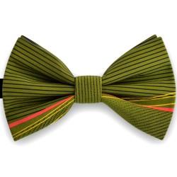 Bow Tie for Men, green, butterfly, silk satin, with model, non-shiny, black horizontal slim stripes, handmade
