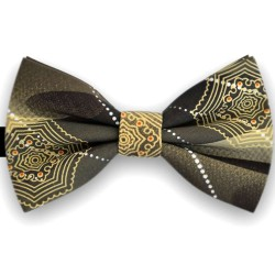 Bow Tie for Men, khaki, butterfly, silk satin, with model, non-shiny, yellow big geometric forms, handmade