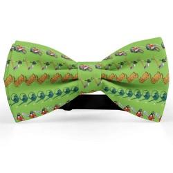 Bow Tie for Men, green, butterfly, silk satin, personalized, metallic, handmade