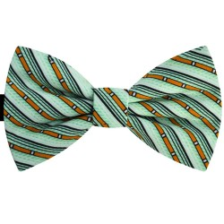 Bow Tie for Men, turqoise, butterfly, silk satin, with model, non-shiny, orange oblique thin stripes, handmade