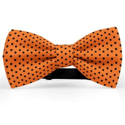 Bow Tie for Men, orange, butterfly, silk satin, with model, shiny, black dots, handmade