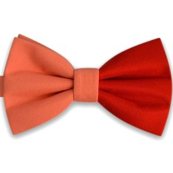 Stylish modern handmade butterfly double bicolor orange salmon and red bow tie