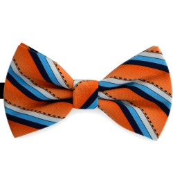 Bow Tie for Men, orange, butterfly, silk satin, with model, non-shiny, oblique thin stripes, handmade
