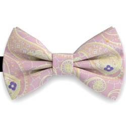 Bow Tie for Men, pink, butterfly, silk satin, with model, non-shiny, yellow big geometric forms, handmade