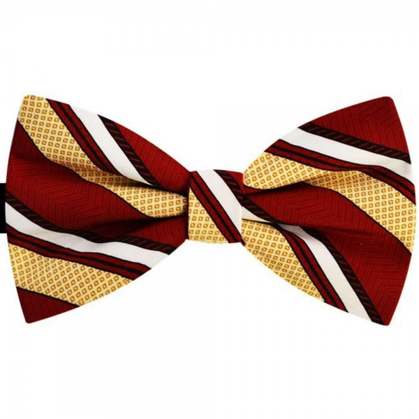 Men Bordeaux red bow tie, white and yellow stripes