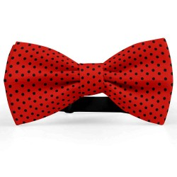 Bow Tie for Men, red, butterfly, silk satin, bicolored, metallic, black centered small dots, handmade