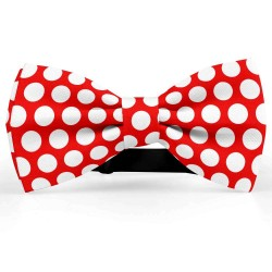 Bow Tie for Men, red, butterfly, silk satin, personalized, shiny, white centered big dots, handmade
