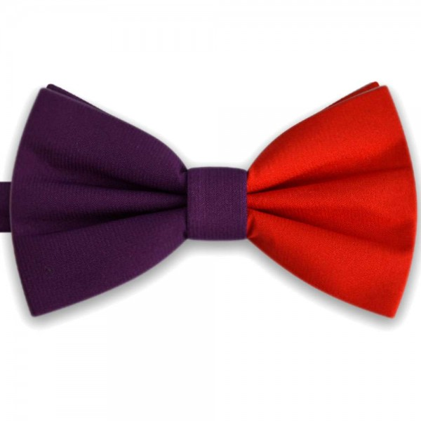 Stylish modern handmade butterfly double bicolor mauve and red bow tie