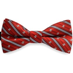 Bow Tie for Men, red, classic, silk satin, with model, shiny, white oblique thin stripes, handmade