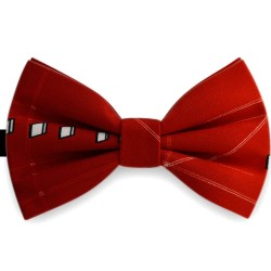 Bow Tie for Men, red, butterfly, silk satin, with model, non-shiny, white centered small geometric forms, handmade