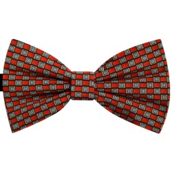 Bow Tie for Men, red, butterfly, silk satin, with model, non-shiny, cream colored vertical small geometric forms, handmade