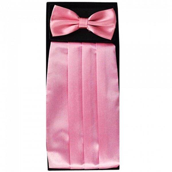 Bow tie, handkerchief & cummerbund smart handmade pink set