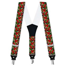 """Suspenders, personalized, """"Red Roses"""""""