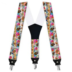 """Suspenders, gray, personalized, """"Art-Explosion of colors"""""""