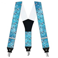 """Suspenders, blue, personalized, """"Doctor - Syringe And Stethoscope"""""""