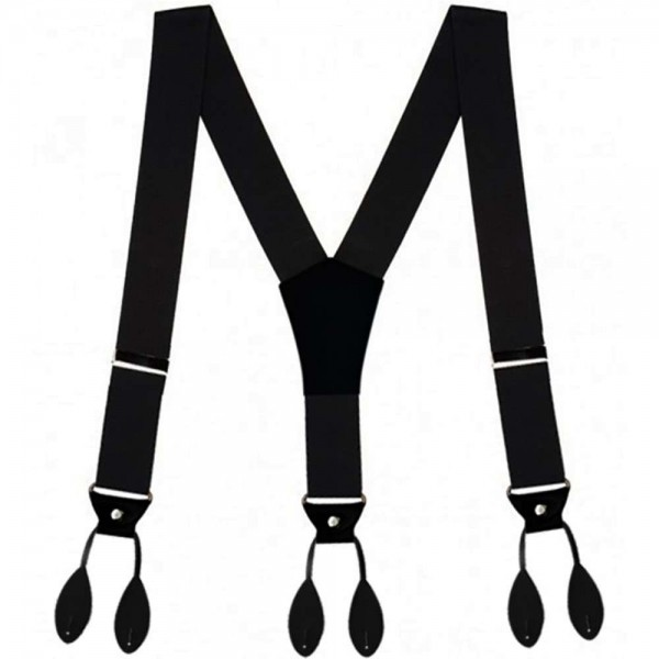 Button suspenders, black, leather button-on attachments