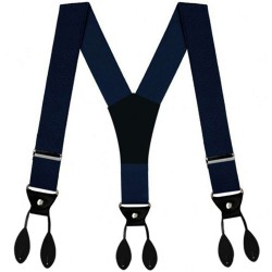 Button suspenders, navy blue, leather button-on attachments