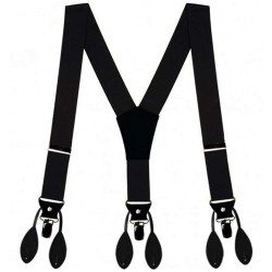 Metal clip and button suspenders for men, convertible, black