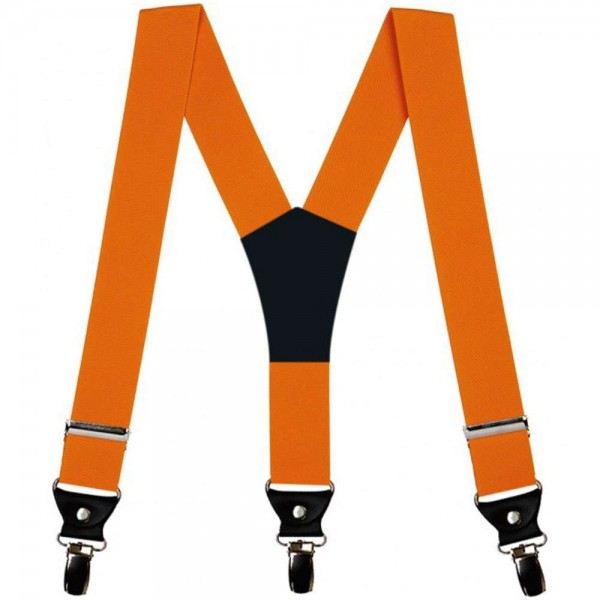 Suspenders for men, orange, 4 cm wide