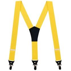 Yellow men suspenders, uni, 3.5 cm wide, metal clips