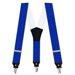 Suspenders, blue, with model, black small dots, handmade, casual