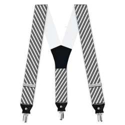 Suspenders, gray, with model, white thin stripes, handmade, casual