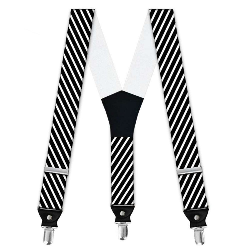 Suspenders, Black, With Model, White Thin Stripes. Handm