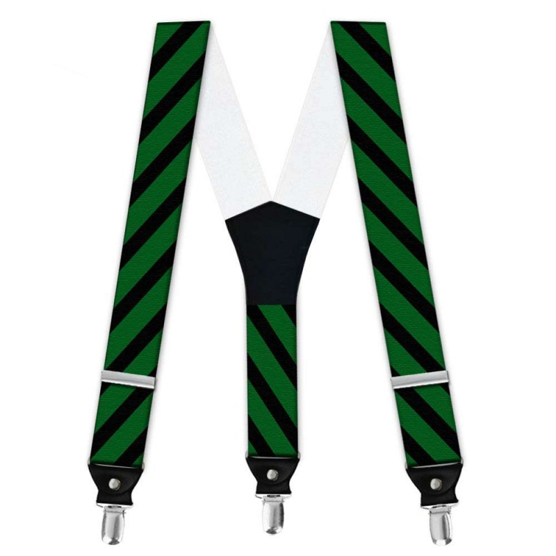 Suspenders, Green, With Model, Black Wide Stripes, Handm