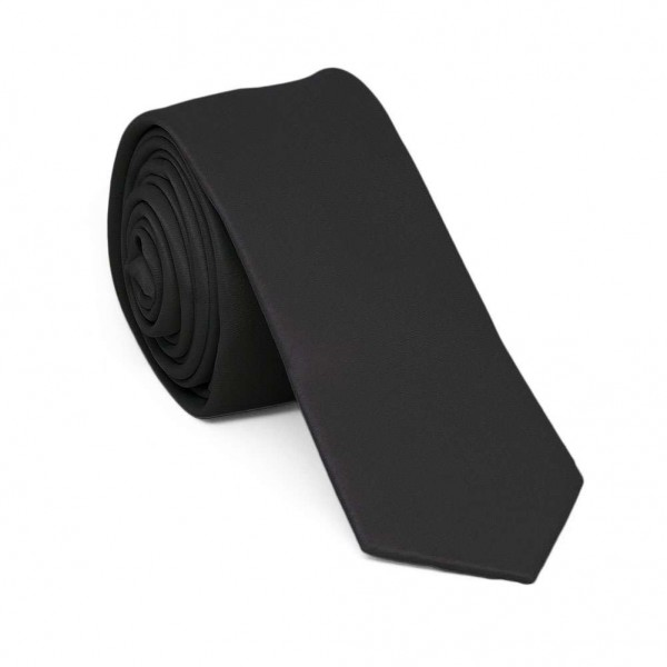 Slim black one-coloured tie for men