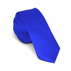 Slim blue one-coloured tie for men