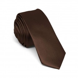 Slim brown one-coloured tie for men