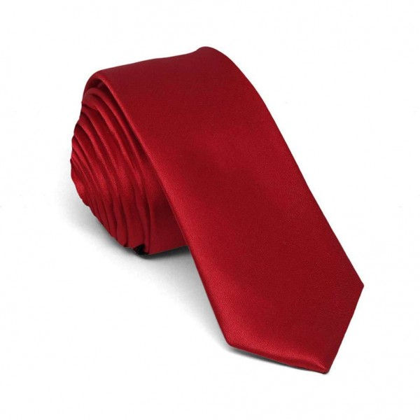 Slim burgundy one-coloured men tie