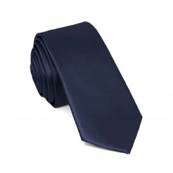 Slim navy blue one-coloured tie for men