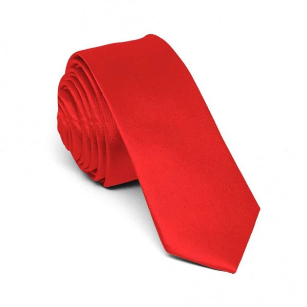 Slim red tie for men