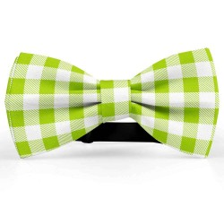 Bow Tie for Men, white, butterfly, silk satin, personalized, shiny, green small geometric forms, handmade