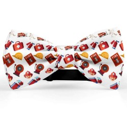 """Bow Tie for Men, white, butterfly, silk satin, personalized, non-shiny,  """"Fireman Tools"""""""