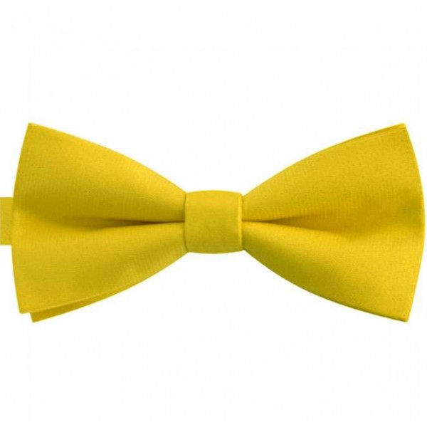 Classic handmade non-shiny imperial straw yellow bow tie for men