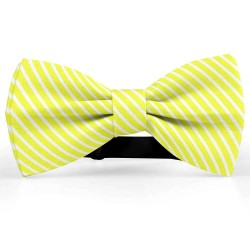 Bow Tie for Men, yellow, butterfly, silk satin, with model, shiny, white oblique thin stripes
